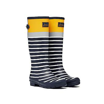 Joules Welly Print With Back Gusset Womens Wellington - Navy Engineered Stripe