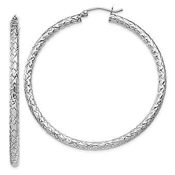 3mm 925 Sterling Argent Rhodium plaqué Textured Hoop Boucles d'oreilles Bijoux Bijoux pour les femmes