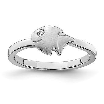 925 Sterling Silver Rhodium plated for boys or girls Satin CZ Cubic Zirconia Simulated Diamond Animal Sealife Fish Ring