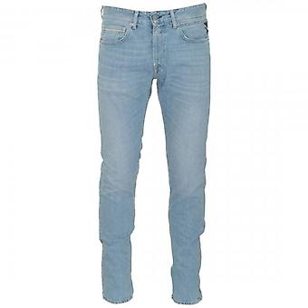Replay Grover Straight Fit Light Blue Washed Denim Jeans MA972 174 410 011