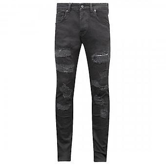 7th Hvn Rip & Repair Black Skinny Jeans 2507 DOA Distressed