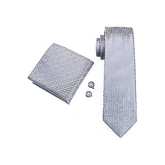 JSS Grey Patterned Pocket Square, Cufflink And Tie Set
