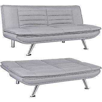 Fabric Sofa Bed 3 Seater Modern Click Clack Living Room Lounge Couch Sleeper Sofa Settee No Armrests,Grey