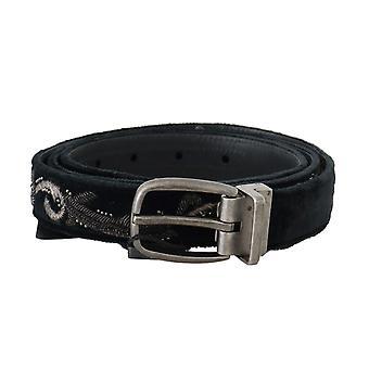 Dolce & Gabbana Black Cotton Royal Bee Embroidery Belt