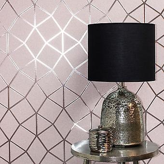 Platinum Geo Trellis Texture Wallpaper Blush Pink / Rose Gold Fine Decor FD42561