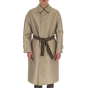 Fendi Ff0324aa8nf0vg0 Män's Beige Cotton Trench Coat