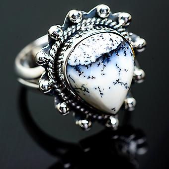 Dendritic Opal Ring Size 9 (925 Sterling Silver)  - Handmade Boho Vintage Jewelry RING995666