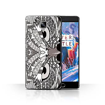 STUFF4 Case/Cover for OnePlus 3/3T/Owl-Mono/Aztec Animal Design