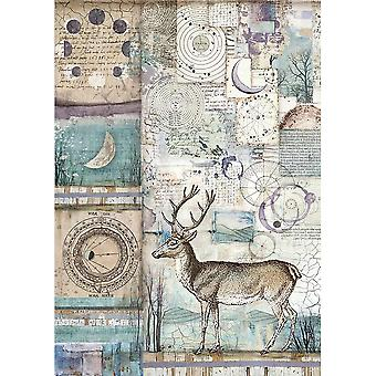 Stamperia Rice Paper Sheet A4-Cosmos Deer