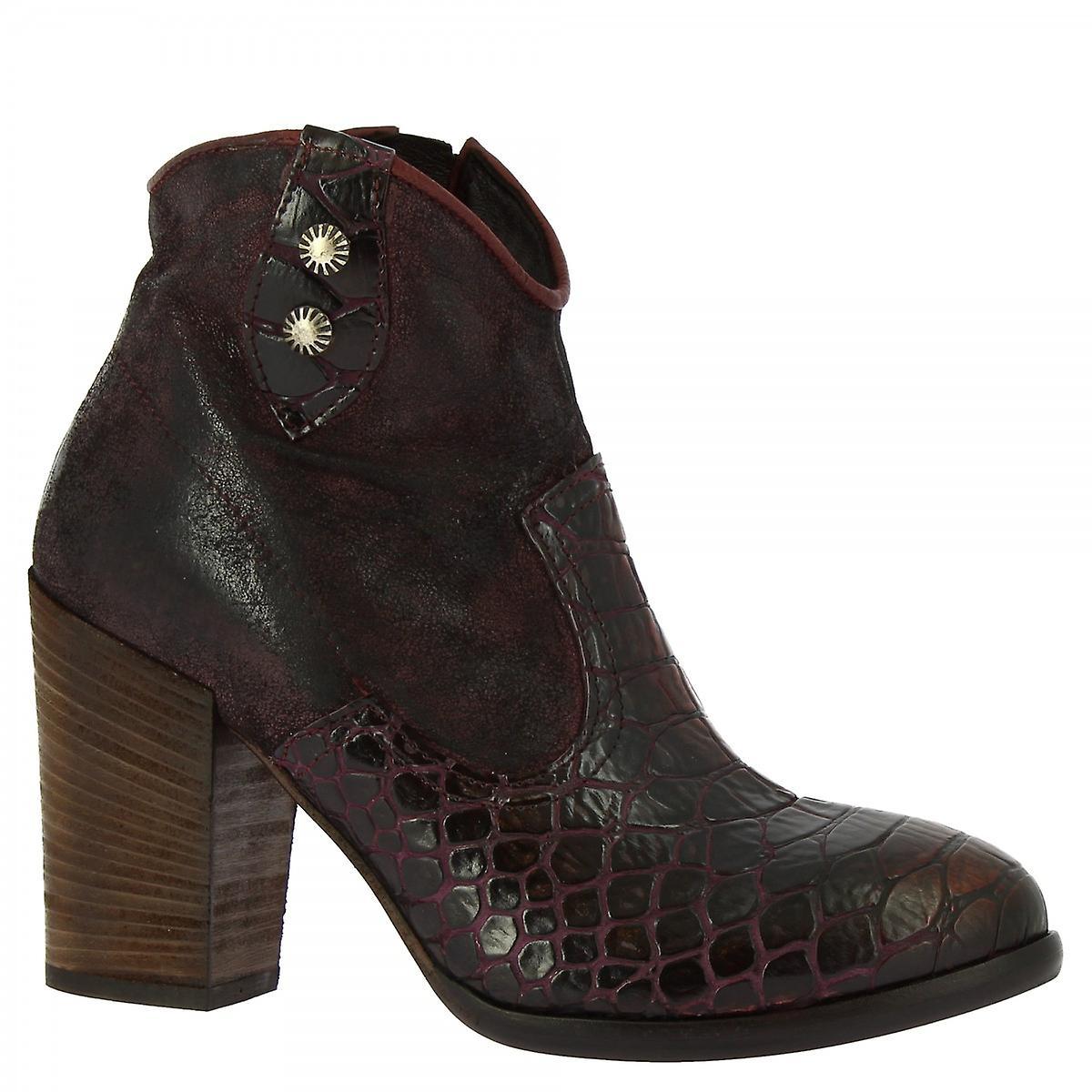 Leonardo Shoes Women's handmade heeled ankle boots burgundy suede leather python khJhf