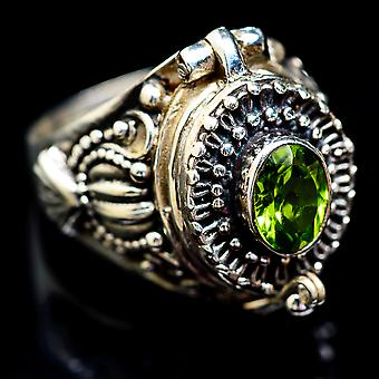 Large Peridot Poison Ring Size 9 (925 Sterling Silver)  - Handmade Boho Vintage Jewelry RING2886