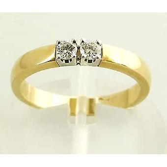 Bicolor ring with 2 diamonds