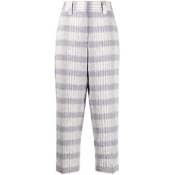 Acne Studios Ak0205aem Women's Beige/blue Linen Pants