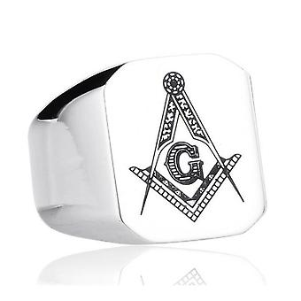 Casted square & compass freemason ring