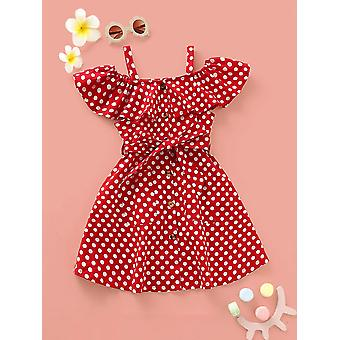 Toddler girls polka dot ruffle trim belted dress