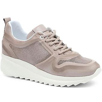 Jones Bootmaker Womens Riya Leather Lace-Up Trainer