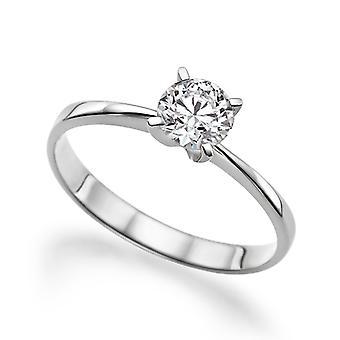 Beautiful 0.80ct White Sapphire Ring White Gold 14K