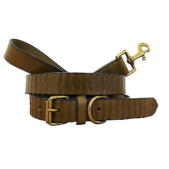 Bradley crompton genuine leather matching pair dog collar and lead set bcdc3khakibrown