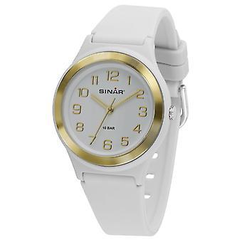 SINAR jeunes montre montre montre analogique quartz fille bande de silicone XB-48-0 or blanc