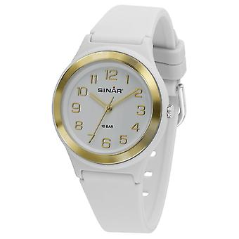 Reloj juvenil SINAR reloj de pulsera analógica cuarzo chica banda de silicona XB-48-0 oro blanco