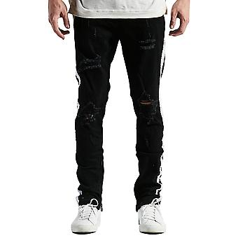 Embellish Bolt Standard Ripped Denim Jeans Black White