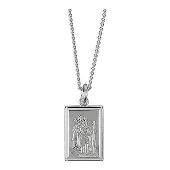 Orton West St Christopher Rectangle Pendant - Silver