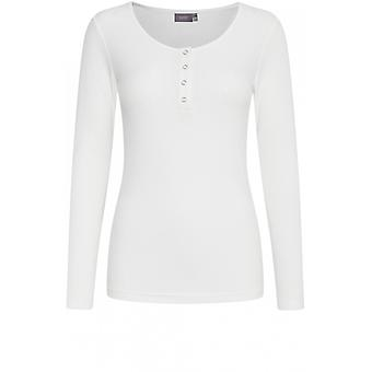 b.young White Ribbed Jersey Top