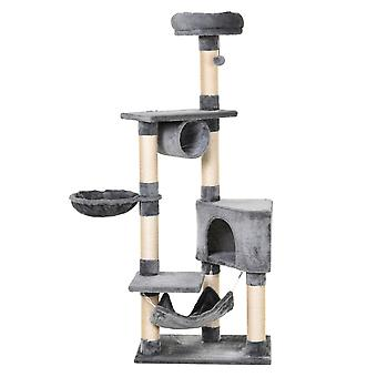 PawHut Cat Tree Condo Tower Multi-level Height 150CM  Kittens Activity Stand House with Toys & Various Scratching Posts