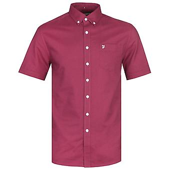 Farah regelmäßige Fit Kurzarm Button-Down Raisin rotes Shirt