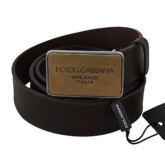 Dolce & Gabbana Brown Leather Gold Dg Logo Metal Buckle Belt BEL60359-85