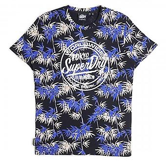 Superdry Super AOP Bambus Print Logo T-Shirt blau T3X