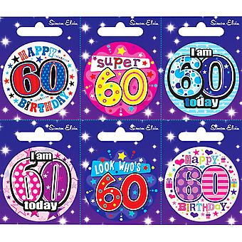 Simon Elvin 60th Birthday Small Badge (Pack Of 6)
