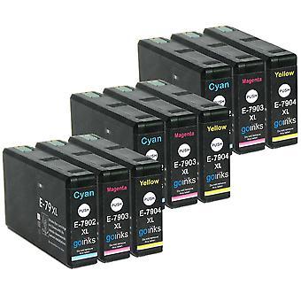 3 Sada 3 atramentových kaziet, ktoré nahradia atramentové kazety Epson T7906 (séria 79XL) kompatibilné s C/M/Y/non-OEM z atramentov Go (9 atramentov)