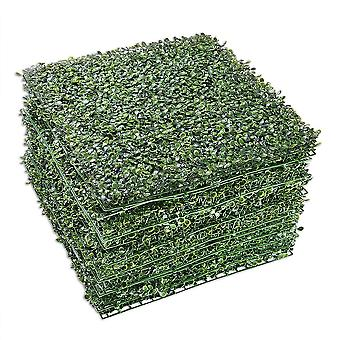 "Yescom 12-Pack 20""x20"" Artificial Boxwood Hedge Mat with Cable Ties UV Privacy Fence Screen Greenery Panel Outdoor Decor"