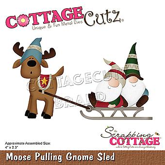 Scrapping Cottage Moose Pulling Gnome Sled