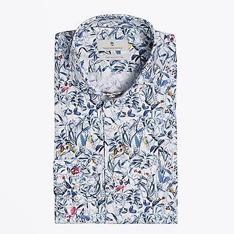 Thomas Maine  - Cotton Bird Print Shirt - Blue