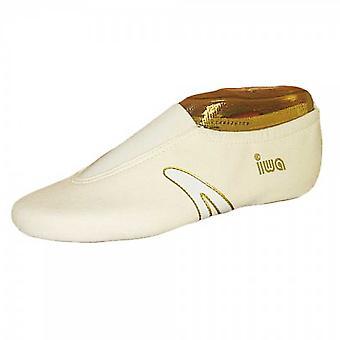 IWA GOLD LINE art turnschuhe, crème met witte streep, draai ballet slippers grootte 31-48