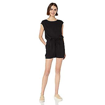 Marca - Daily Ritual Women's Tencel Short-Sleeve Romper, Preto, 14