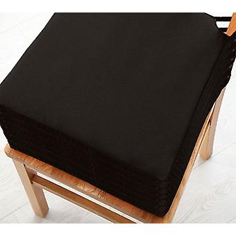 Black 6pk Seat Pad Cushions with Secure Fastening Dining Kitchen Chairs Soft Cotton Twill
