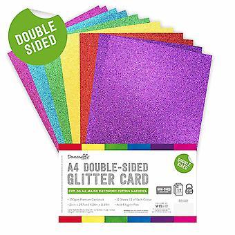 Dovecraft dobbeltsidig glitter støtfanger pack A4 rainbow lyse