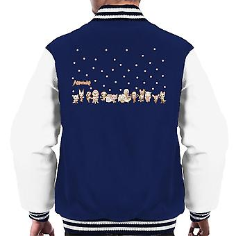 Aggretsuko Pink Polka Dot Characters Side By Side Men's Varsity Jacket