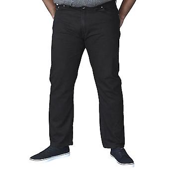 Duke D555 Mens Balfour Big Tall King Size Stretch Elasticated Waist Jeans Noir