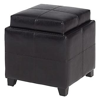 Alex Ii Faux Leather Storage Ottoman - White