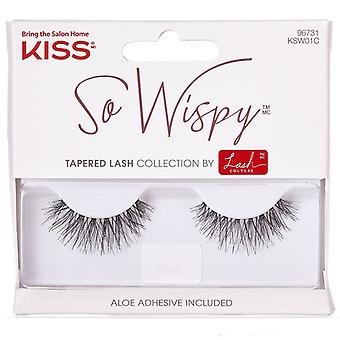 Kiss Lash Couture Reusable False Eyelashes - So Wispy 01 - Adhesive Included