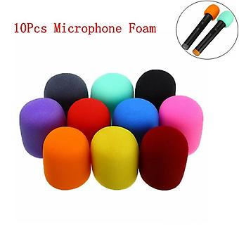 10pcs Multi Color -handheld Stage Ball Shape For Microphone Windscreen Foam Mic Cover Karaoke