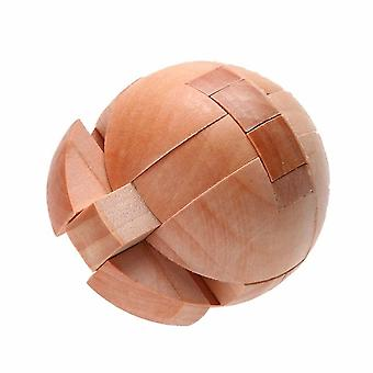 Educational Unlock Ball Shaped Luban Lock- Wooden Puzzle Diameter 6cm For Children Toy