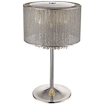 4 Licht tafellamp zilver, kristalglas, G9