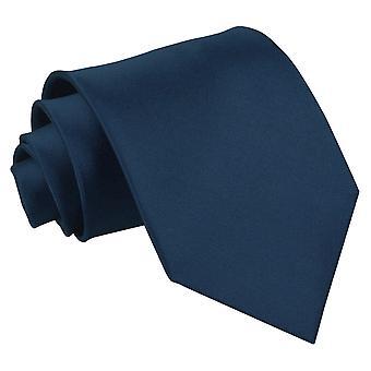 Navy Blue oformaterad Satin Extra långa slips