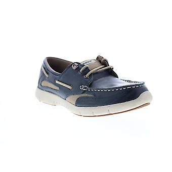 Sebago Clovehitch Lite FGL gratado hombres azul cuero zapatos de barco loafers