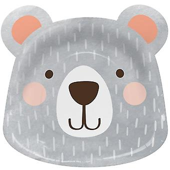 Birthday Bear Faced Paper Party Plates x 8